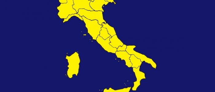 Covid, oggi tutta l'Italia si tinge di giallo